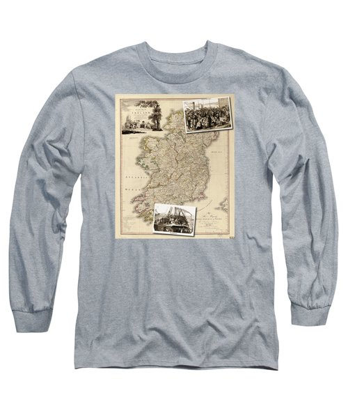 Vintage Map Of Ireland With Old Irish Woodcuts Long Sleeve T-Shirt