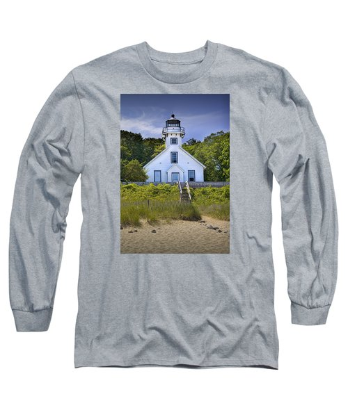 Old Mission Point Lighthouse In Grand Traverse Bay Michigan Number 2 Long Sleeve T-Shirt by Randall Nyhof