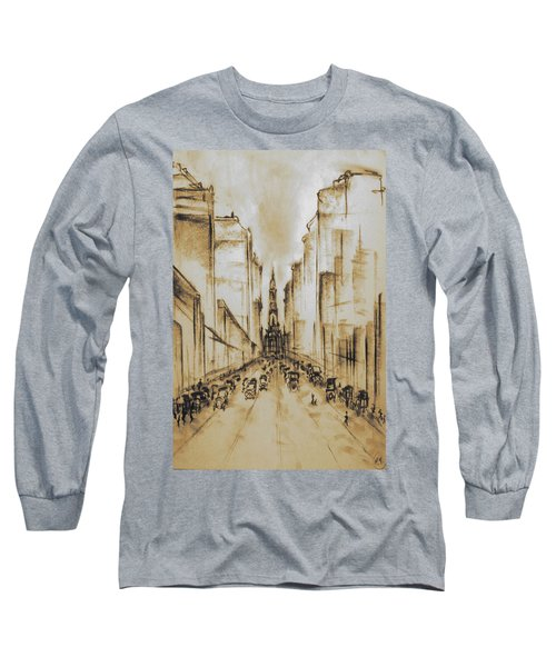 Old Philadelphia City Hall 1920 - Vintage Art Long Sleeve T-Shirt by Art America Gallery Peter Potter