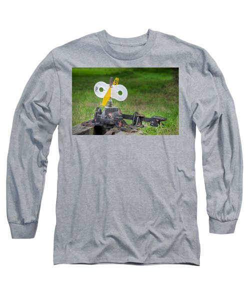 Old Railroad Switch In The Grass Long Sleeve T-Shirt by Gary Slawsky