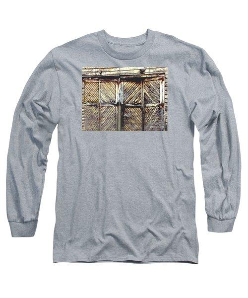Old Rusted Barn Door Long Sleeve T-Shirt by Merton Allen