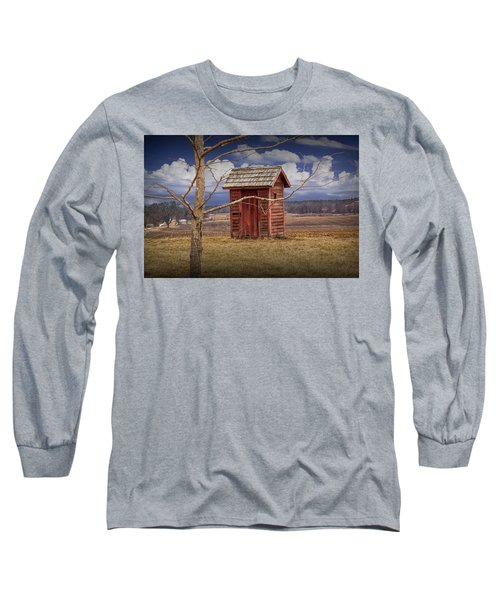 Old Rustic Wooden Outhouse In West Michigan Long Sleeve T-Shirt