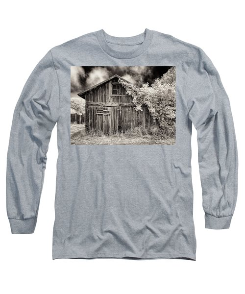 Long Sleeve T-Shirt featuring the photograph Old Shed In Sepia by Greg Nyquist