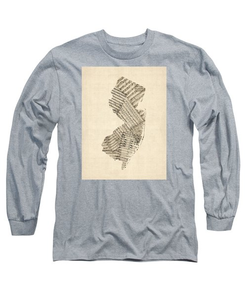 Old Sheet Music Map Of New Jersey Long Sleeve T-Shirt by Michael Tompsett