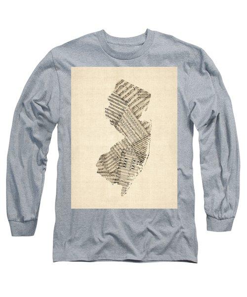 Old Sheet Music Map Of New Jersey Long Sleeve T-Shirt