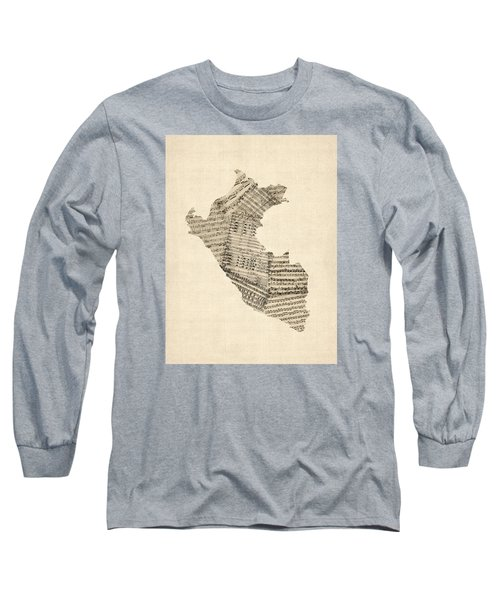 Old Sheet Music Map Of Peru Map Long Sleeve T-Shirt