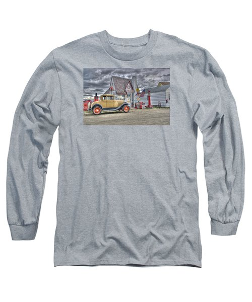 Old Time Gas Station Long Sleeve T-Shirt by Shelly Gunderson