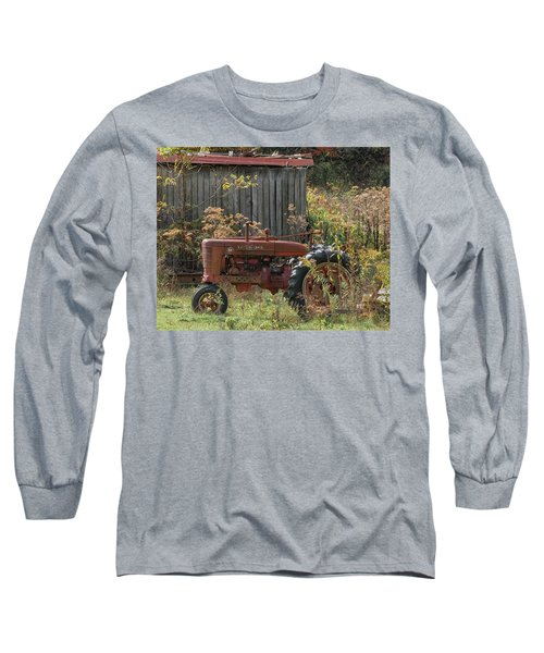 Old Tractor On The Farm. Long Sleeve T-Shirt