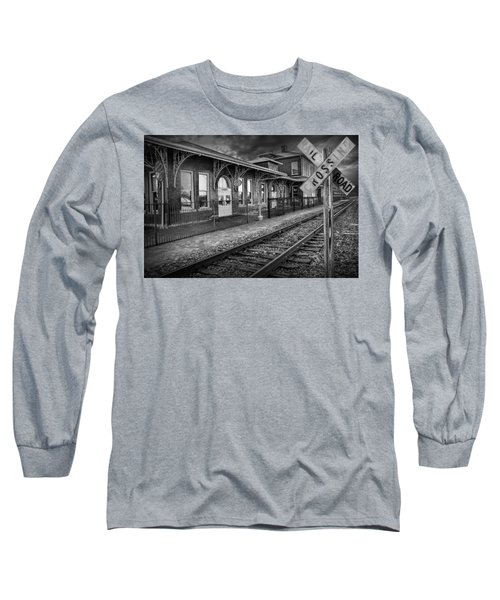 Old Train Station With Crossing Sign In Black And White Long Sleeve T-Shirt