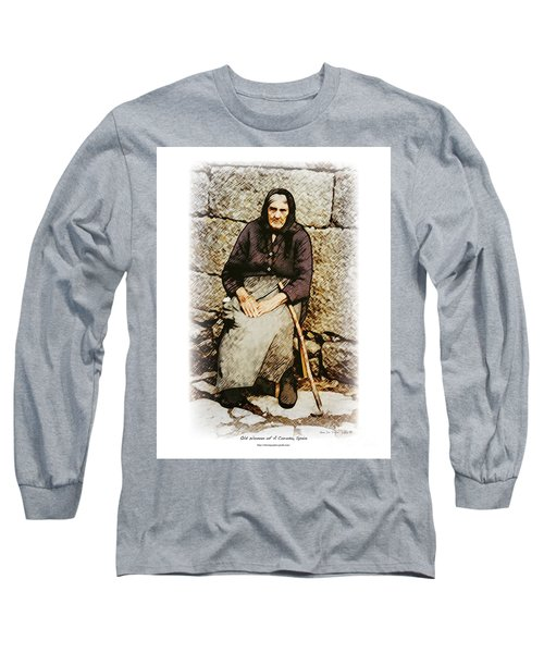 Old Woman Of Spain Long Sleeve T-Shirt by Kenneth De Tore