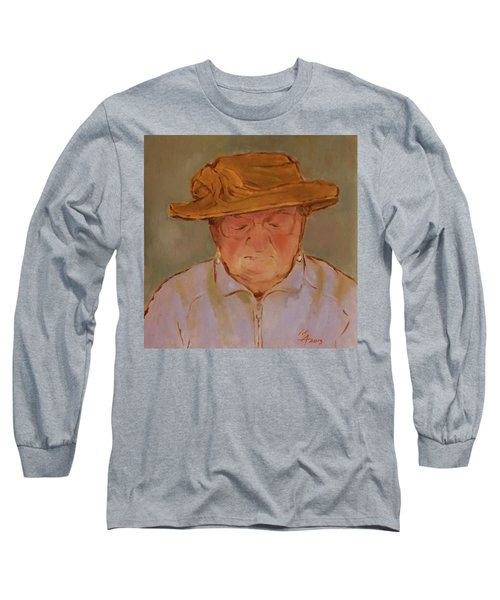 Old Woman With Yellow Hat Long Sleeve T-Shirt