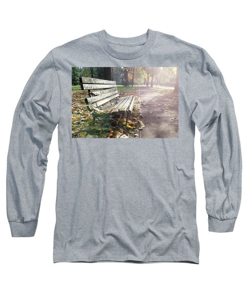 Rustic Wooden Bench During Late Autumn Season On Bright Day Long Sleeve T-Shirt