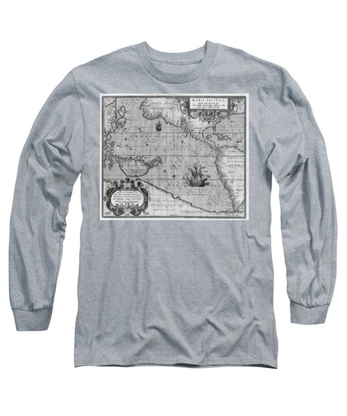 Old World Map Print From 1589 - Black And White Long Sleeve T-Shirt