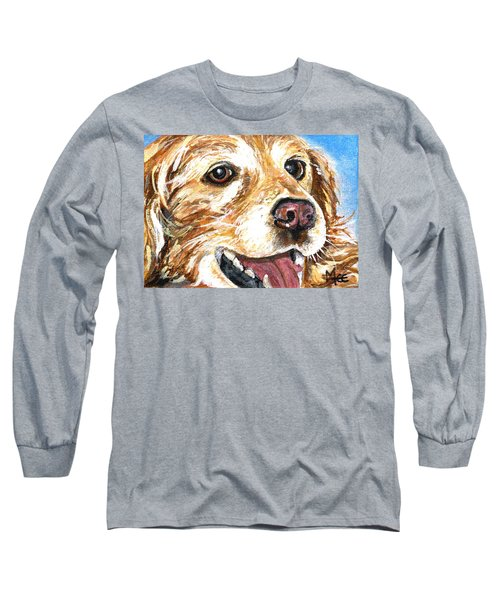 Long Sleeve T-Shirt featuring the painting Oliver From Muttville by Mary-Lee Sanders