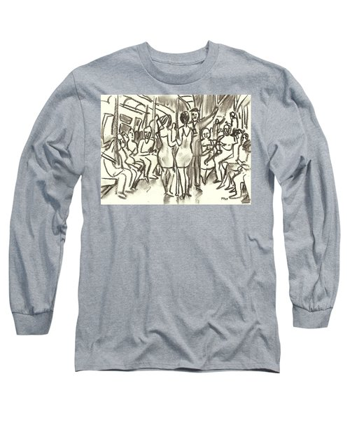 On The A, New York City Subway Drawing Long Sleeve T-Shirt