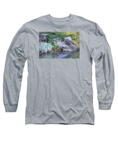 On The Banks Of The Pool Long Sleeve T-Shirt by Linda Geiger