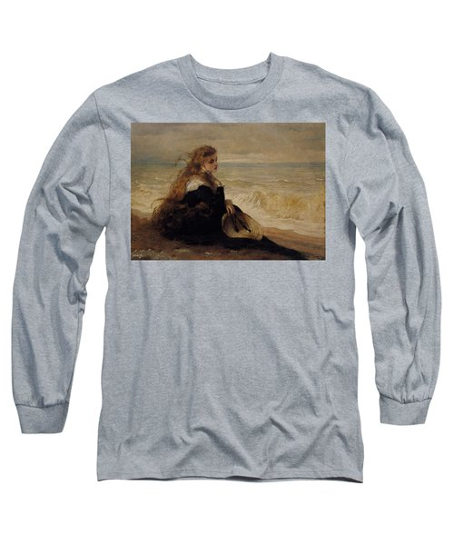 On The Seashore Long Sleeve T-Shirt by George Elgar Hicks