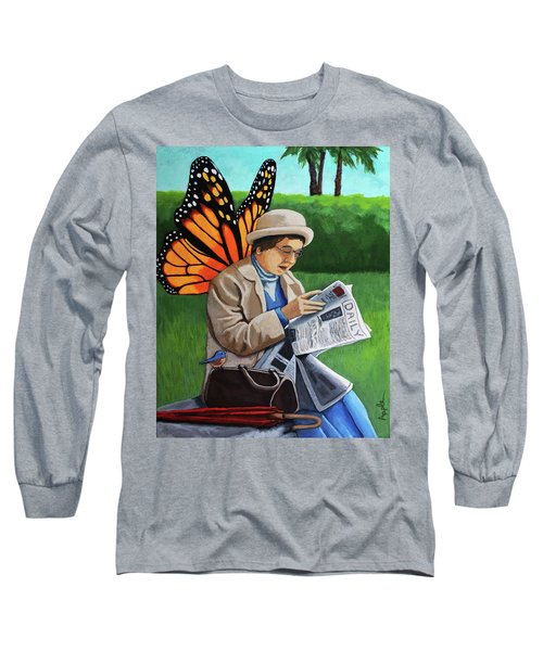 Long Sleeve T-Shirt featuring the painting On Vacation -butterfly Angel Painting by Linda Apple
