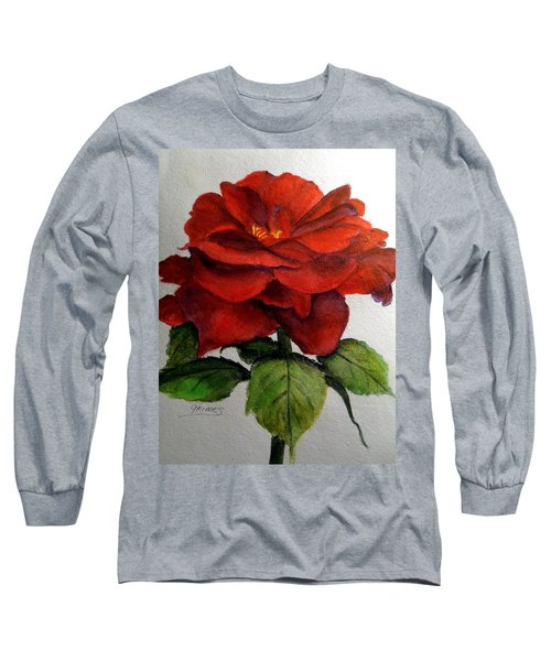 Long Sleeve T-Shirt featuring the painting One Beautiful Rose by Carol Grimes