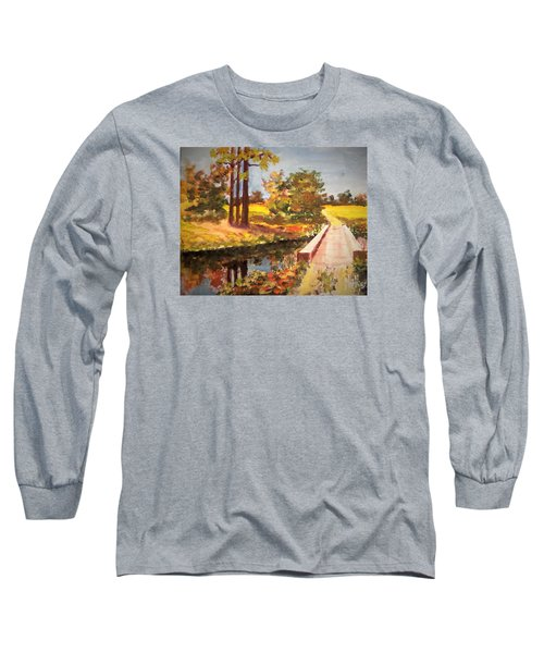Long Sleeve T-Shirt featuring the painting One Lane Bridge by Jim Phillips