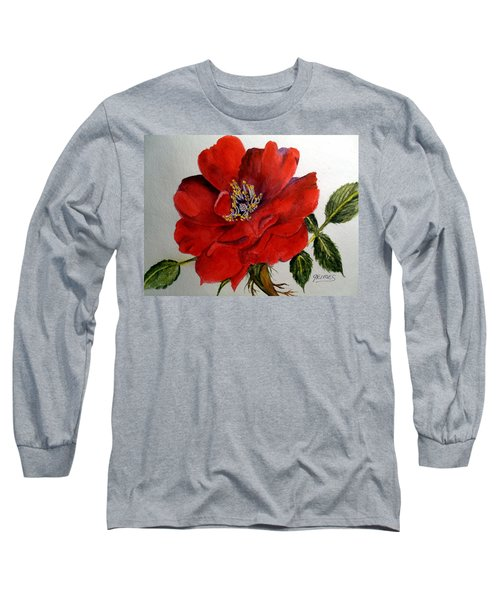 Long Sleeve T-Shirt featuring the painting One Lone Wild Rose by Carol Grimes