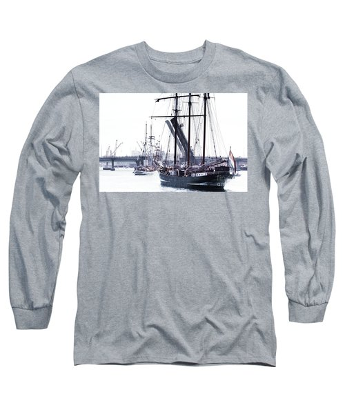 Long Sleeve T-Shirt featuring the photograph Oosterschelde Leaving Port by Stephen Mitchell
