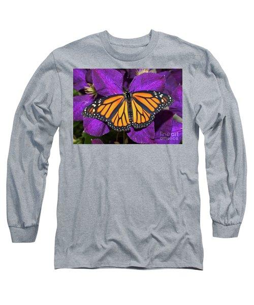 Orange On Purple Long Sleeve T-Shirt