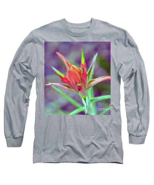 Orange Paintbrush Flower Long Sleeve T-Shirt