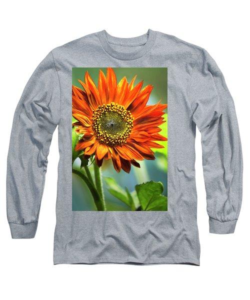 Orange Sunflower Long Sleeve T-Shirt