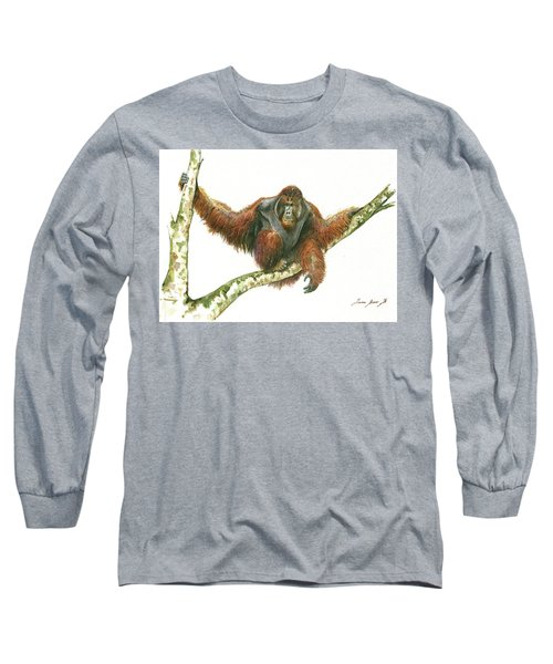 Orangutang Long Sleeve T-Shirt by Juan Bosco
