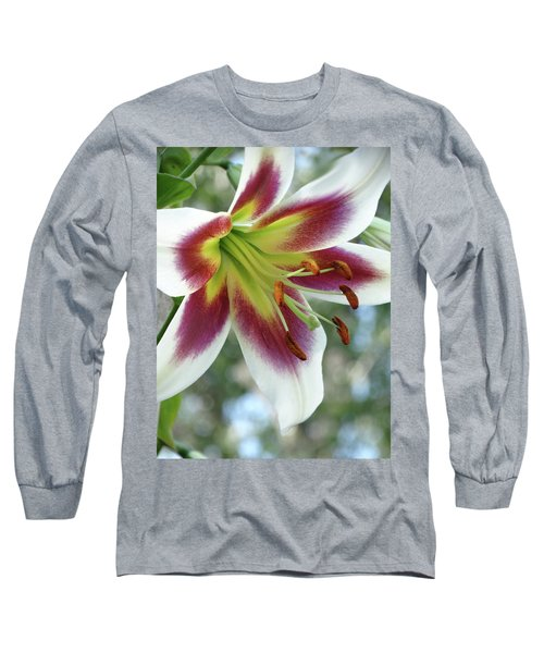 Oriental Lily In Summer Sunset Long Sleeve T-Shirt by Rebecca Overton