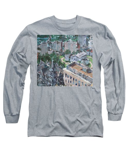 Long Sleeve T-Shirt featuring the painting Original Contemporary Cityscape Painting Featuring Virginia State Capitol Building by Robert Joyner