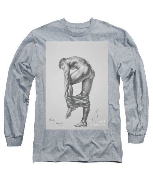 Original Drawing Sketch Charcoal Pencil Gay Interest Man Art  On Paper #11-17-14 Long Sleeve T-Shirt by Hongtao     Huang