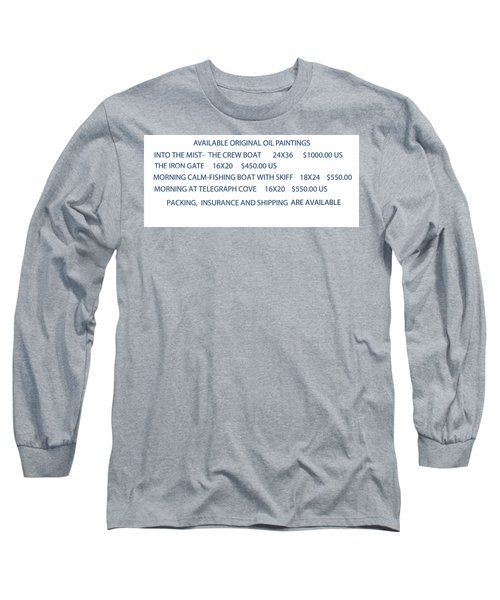 Long Sleeve T-Shirt featuring the painting Original Oil Painting Availability List by Gary Giacomelli
