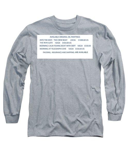 Original Oil Painting Availability List Long Sleeve T-Shirt