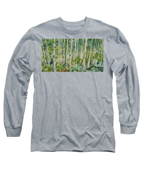 Original Watercolor - Summer Aspen Forest Long Sleeve T-Shirt