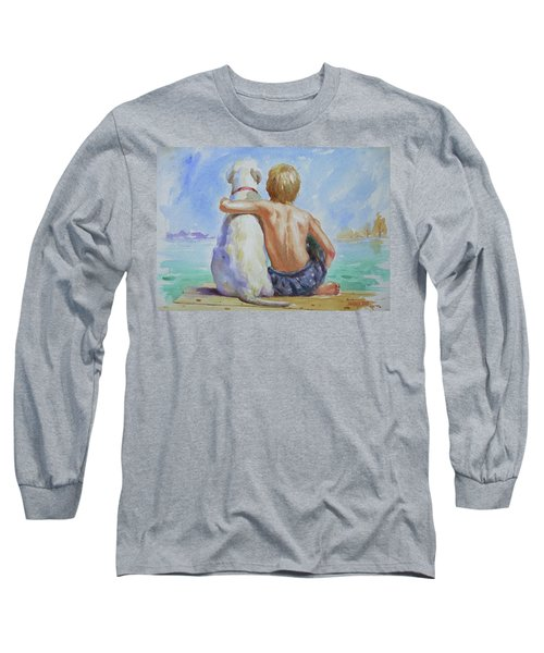 Original Watercolour Painting Nude Boy And Dog On Paper#16-11-18 Long Sleeve T-Shirt