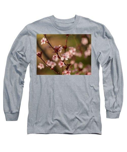 Purple Leaf Sandcherry Blossoms 2 Long Sleeve T-Shirt