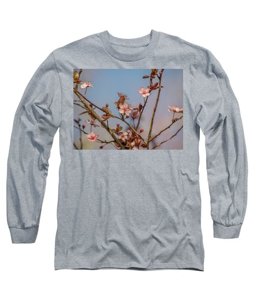 Purple Leaf Sandcherry Blossoms Long Sleeve T-Shirt