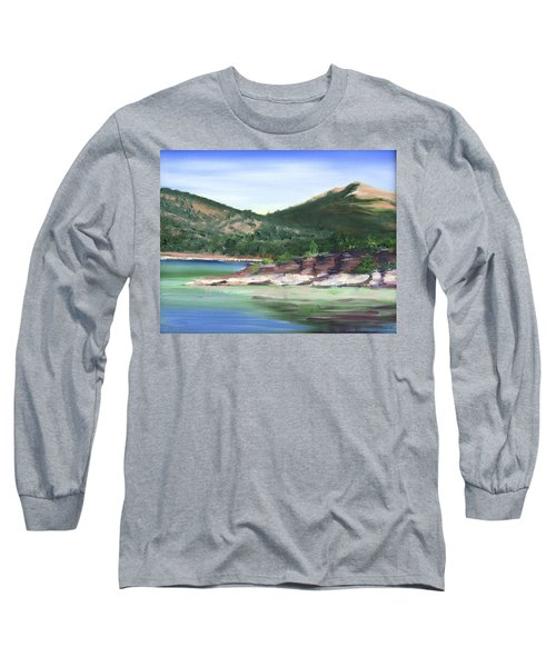 Long Sleeve T-Shirt featuring the painting Osprey Island Flaming Gorge by Jane Autry