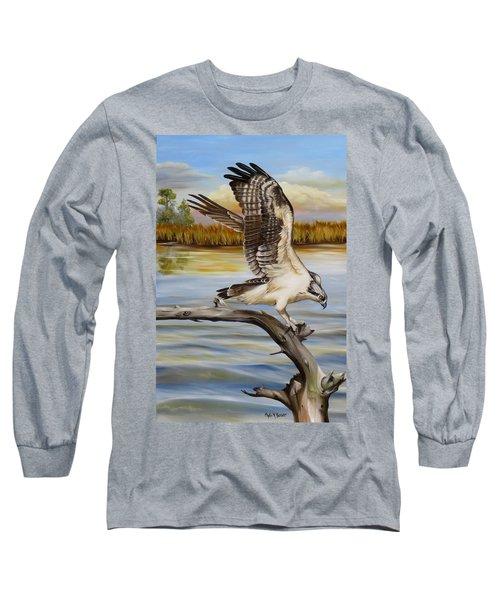 Osprey Landing Long Sleeve T-Shirt by Phyllis Beiser