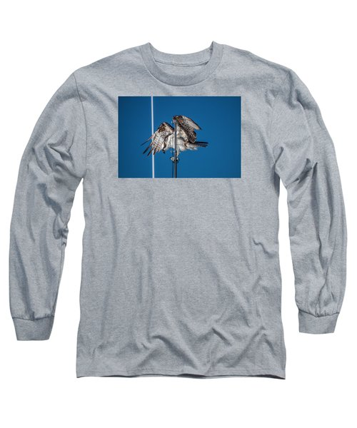 Osprey On The Boat Rod Long Sleeve T-Shirt by Dorothy Cunningham