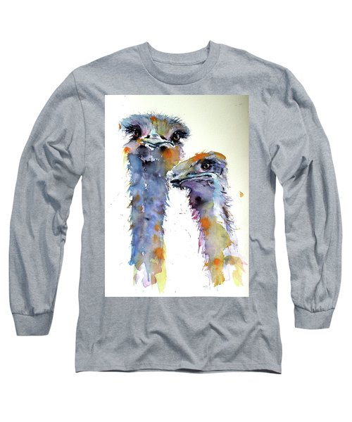 Long Sleeve T-Shirt featuring the painting Ostriches by Kovacs Anna Brigitta