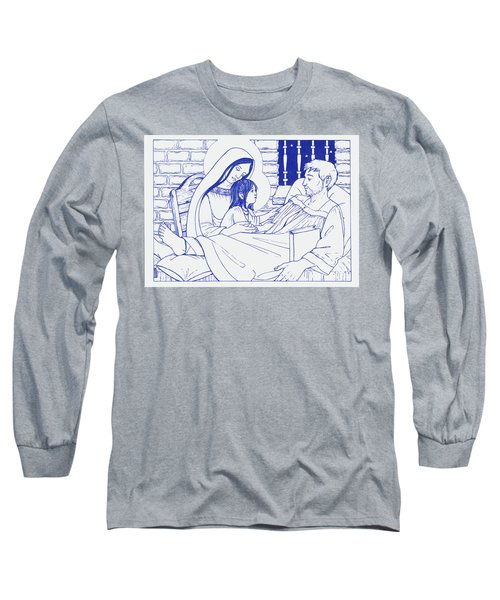 Long Sleeve T-Shirt featuring the painting Our Lady And The Holy Child Jesus Visit St Ignatius The Convalescent In Loyola by William Hart McNichols