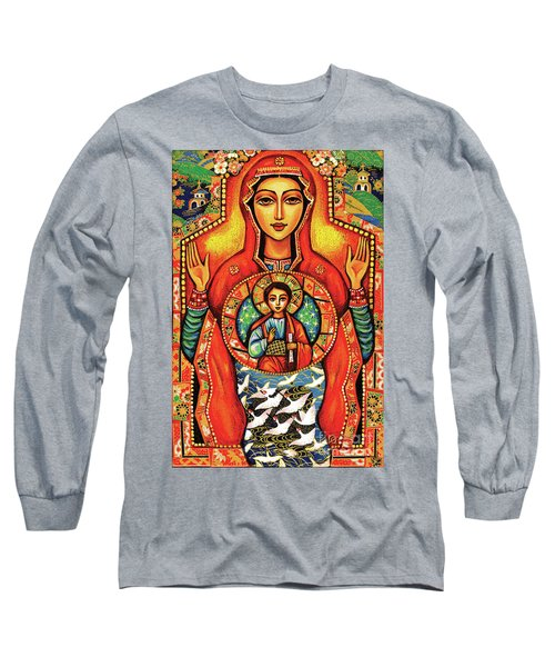 Long Sleeve T-Shirt featuring the painting Our Lady Of The Sign by Eva Campbell