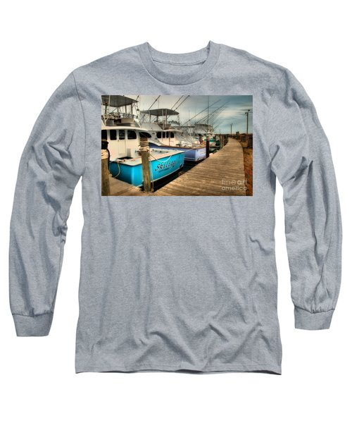 Outer Banks Fishing Boats Waiting Long Sleeve T-Shirt by Dan Carmichael