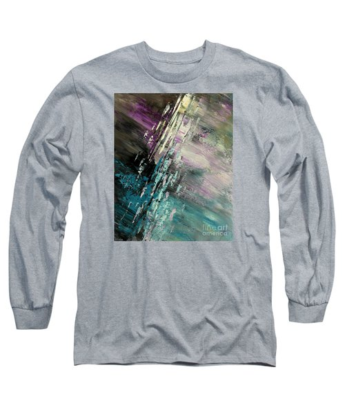 Long Sleeve T-Shirt featuring the painting Over Cosmic Clouds by Tatiana Iliina