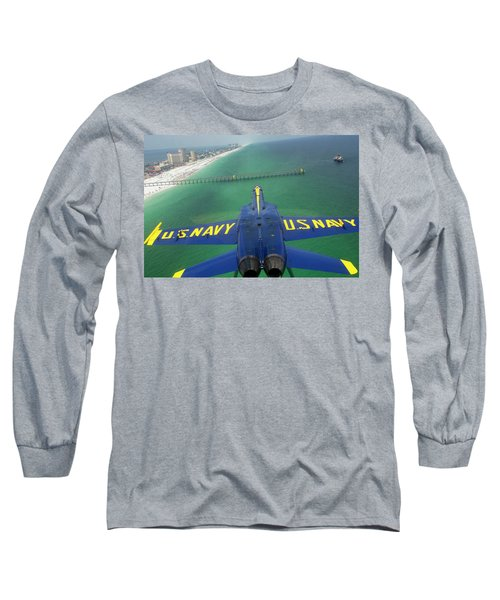 Long Sleeve T-Shirt featuring the photograph Over Pensacola Beach by Specialist 3rd Class Andrew Johnson
