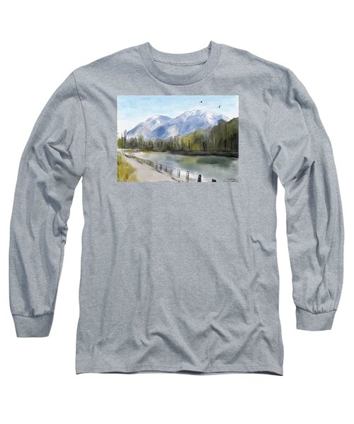 Long Sleeve T-Shirt featuring the painting Over The Mountains by Wayne Pascall