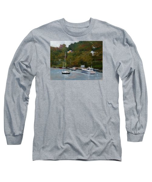 Overcast Day At Rockport Harbor Long Sleeve T-Shirt